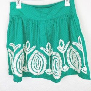 Nick & Mo GREEN EMBROIDERED STITCH MINI SKIRT